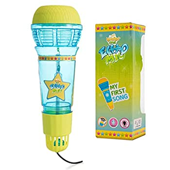Echo Mic for Kids and Toddlers - Magic Microphone with Multicolored Flashing Light and Fun Rattle - Blue and Yellow Speech Therapy Feedback Toy - Retro Gift For Boys and Girls Who Love Singing Music