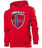 Golebros Norwegen Norway Norge Fan Artikel 4704 Hoodie Pulli Sweatshirt Kapuzen Pullover Flagge Fahne Männer Herren World Cup M