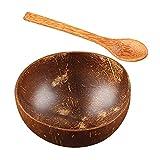 JWDS Tazón de coco 1 juego de 2 cuencos y cucharas, cuenco de coco natural, recipiente para servir alimentos para ensaladas de caramelos, frutos secos, reciclable y degradable