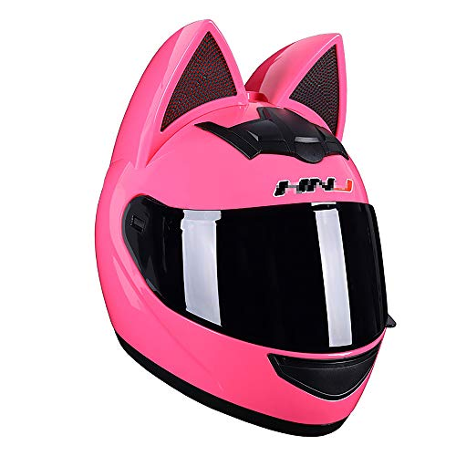 JJXD Cascos Completa para Hombres Y Mujeres, con Los Oídos De Gato Adulto Tirón Visera Modular Casco De La Motocicleta Dot Certificación, Adecuado para ATV Motocicleta Bicicleta De Montaña Off-Road,L