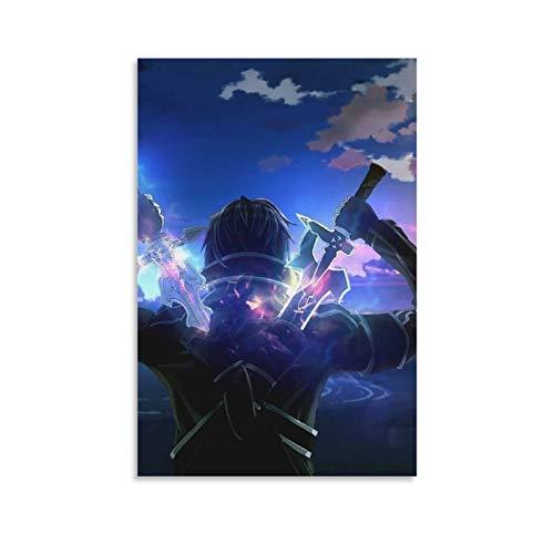 BGRGU Póster de Kirigaya Kazuto Anime Espada Arte en línea Póster de Sao Poster Pintura decorativa en lienzo para la pared de la sala de estar Carteles de dormitorio Pintura de 20 x 30 cm