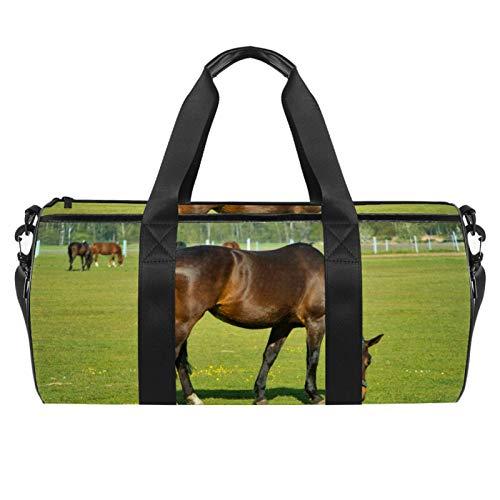 Borsone da viaggio da 45,7 cm con tasca bagnata per uomini donne, leggero, cavalli
