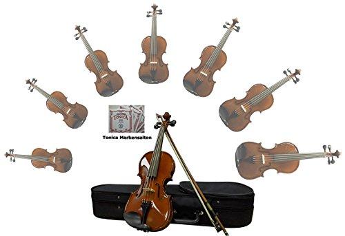 Sinfonie24 Geige/Violine Größe 3/4 für Einsteiger, Hamburger Geigenbau Manufaktur, (Basic II) Set mit Koffer, Bogen und Kolophonium, palisanderfarbend, spielfertig eingerichtet mit Markensaiten