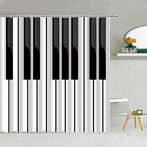 wslgfgk Musikinstrument Musiknote Thema 3D Duschvorhang Klaviertasten Gitarrenkopfhörer Badezimmerparty Karneval Wasserdichter Vorhang 200 (B) X200 (H) cm I10148