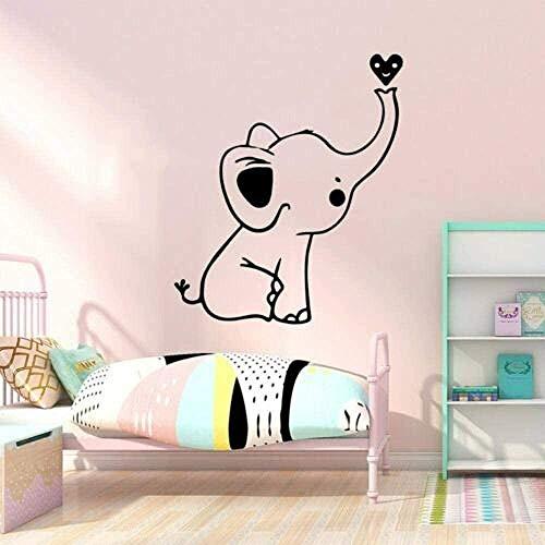MXLYR Wandtattoo Wall Decal Pretty Cute Elephant Little Heart Vinyl Wall Sticker Wallpaper Kids Room Home