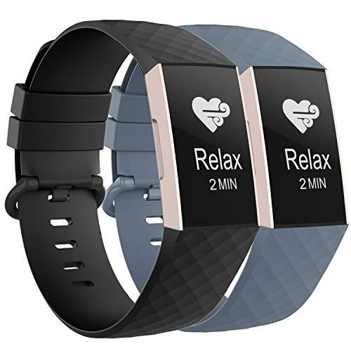 WASPO für Fitbit Charge 3 Armband, Sportliches Wasserdichtes Ersatzarmband Kompatibel mit Fitbit Charge 3/ Charge 3 Special Edition, Damen Herren (Schwarz+Blaugrau, Groß)