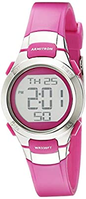 Armitron Sport Women's 45/7012PKSV Digital Chronograph Matte Pink Resin Strap Watch
