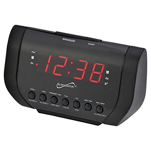 naxa electronics projection alarm clocks Supersonic SC-383U Dual Alarm Clock Radio with USB Charging Port