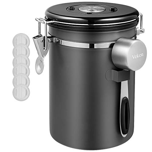 Veken Coffee Canister, Airtight Stainless Steel Kitchen Food Storage Container with Date Tracker and Scoop for Beans, Grounds, Tea, Flour, Cereal, Sugar, 22OZ, Gray