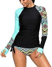 Viloree Dames badmode Rash Guard badpak UV-bescherming lange mouwen shirt slim fit surf shirt trekkoord badshirts