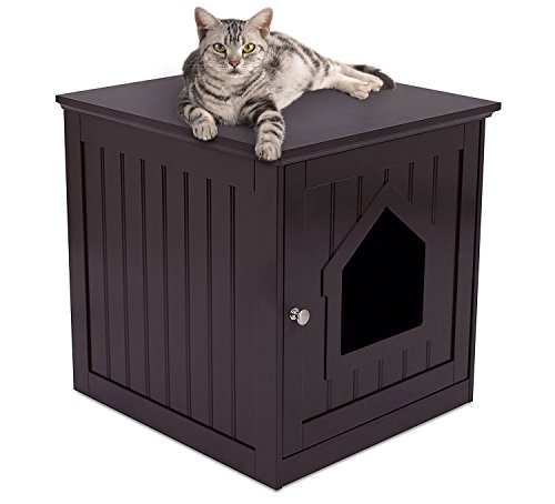 Internet's Best Decorative Cat House & Side Table - Cat Home Nightstand - Indoor Pet Crate - Litter...