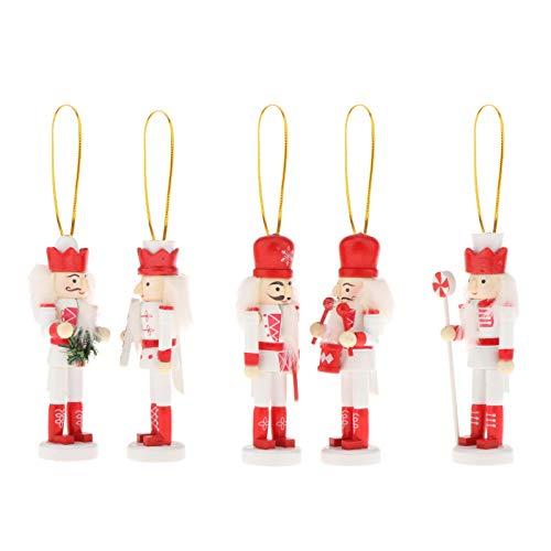 lahomia Marioneta de Madera del Cascanueces de La Navidad Marioneta de Los Ornamentos de Navidad para El árbol de Navidad - 5pcs, Individual