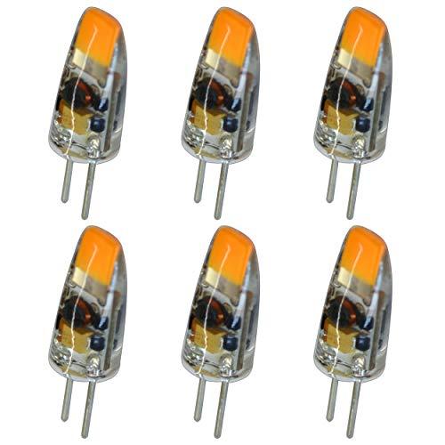 6 bombillas LED G4 mini de 1,5 W, 12 V CA/CC, luz blanca cálida, de silicona (gel de sílice), repuesto para halógeno regulable