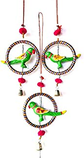 PALPAL Art Gallery Parrot Ring JHUMER Combo Set of 3 Home Decoration for Hall balcaney Wall/Door/Window Hanging (24CM Mult...