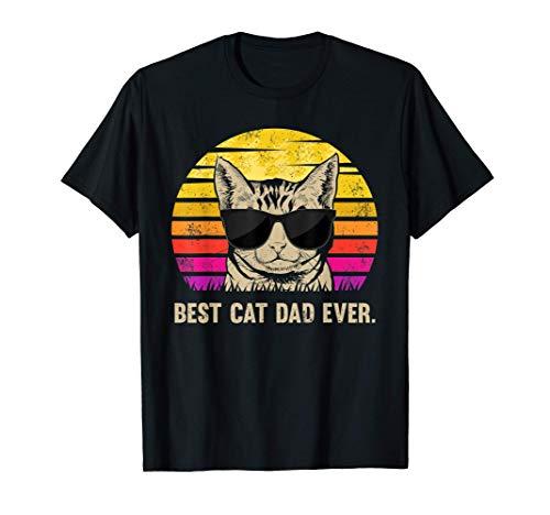 Herren Katzen Best Cat Dad Ever Papa Vatertag Geburtstag Geschenk T-Shirt