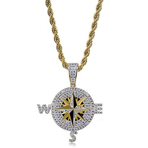 Hip-hop brújula colgante collar con colgante de brújula de circonita, accesorios de regalo de cumpleaños joyas (oro, plata), collar colgante
