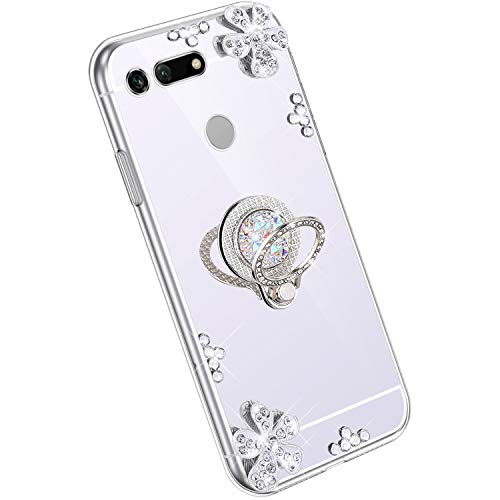 Ysimee Spiegel Hülle kompatibel mit Huawei Honor V20 [Ring Holder], Dünne Handyhülle Huawei View 20 Bling Glitzer Diamant Hülle mit 360 Grad Ständer Kratzfest Stoßdämpfend Schutzhülle, Silber
