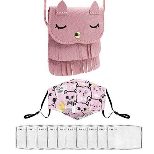 ZGMYC Kids Girls Cat Tassel Crossbody Purse, Cat Print Cotton Reusable Mouth Cover with 10 with 10pcs Replaceable Inserts, Pink