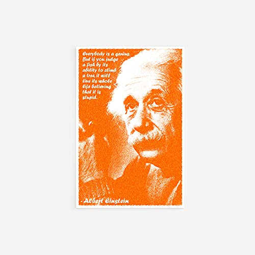 Albert Einstein Art Print 2'Everybody is A Genius Photo Poster with Iconic Quote Unique Gift // Size: A3 (297 x 420 mm)