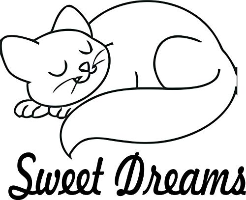 Cat Kitty Pet Best Friend Sweet Dreams Baby Nursery Wall Decals For Babies Walls / Bed Time Night Time Sleep Sleeping Kids Bedroom Art Vinyl Decor Stickers ideas Designs Stars Size 20x20 inch