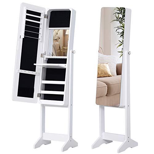 HOMCOM LED Schmuckschrank mit Innenspiegel Spiegelschrank klappbare Ablage Standspiegel verstellbar Weiß 146 cm hoch