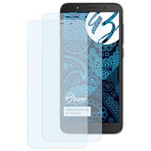 Bruni Schutzfolie kompatibel mit Alcatel 1C Folie, glasklare Bildschirmschutzfolie (2X)