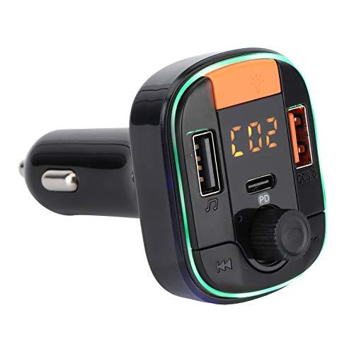 Reproductor de MP3 Universal Car Bluetooth Manos libres Llamadas 2 puertos USB QC3.0 Carga rápida con luz ambiental