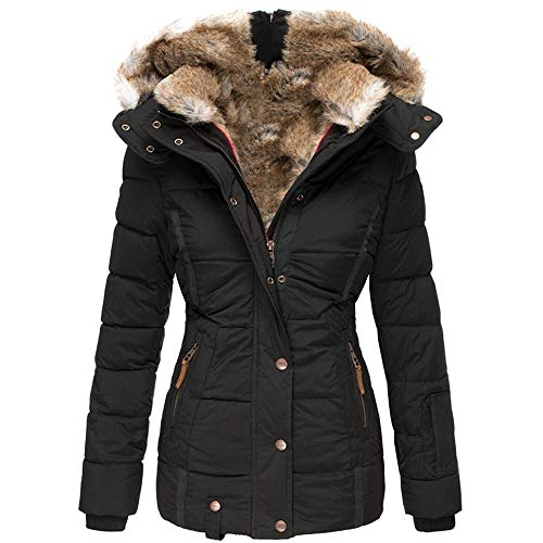 Koodred Women's Hooded Thickened Warm Winter Outwear with Faux Fur Lined Down Jacket Puffer Coat Black