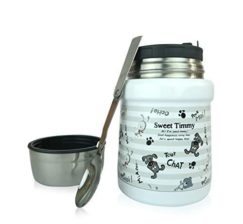 Wenburg Thermobehälter/Isolierbehälter Wolton - 450 ml I Premium Speisebehälter mit Löffel, für Essen, Babynahrung, Suppen. Edelstahl Vakuum Lunchbox für Unterwegs I Baby (Hunde/grau, 450 ml)