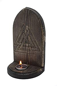 Valknut Altar - Handmade Pagan Altar, Odin Heathen Wiccan Viking Witchcraft Talisman Wooden Home Wall Decor