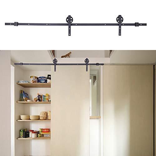 Kit de riel de puerta de madera corrediza de granero de 1,83 m / 6 pies para consola de soporte de TV de armario suave y silenciosamente