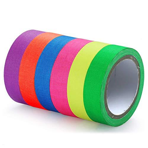 Neon Klebeband Bunt 6 Stück 15mmx 5m Fluoreszierendes Klebeband Gewebeband Gaffa Tape Schwarzlicht Farbe Neon Tapefür Schwarzlicht Deko 6 Farben