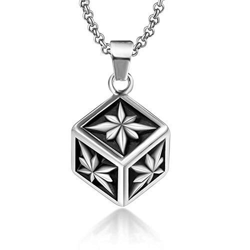 Collar de acero de titanio colgante cubo 3d estrella en forma de cadena de suéter