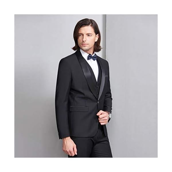 MY'S Mens 3-Piece Suit Shawl Lapel One Button Tuxedo Slim Fit Premium Dinner Jacket Vest Pants & Tie Set
