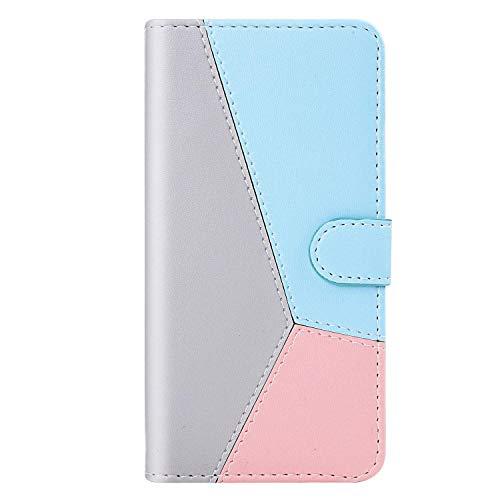 vingarshern Hülle für Sony Xperia Z6 Handytasche Klappbares Magnetverschluss Lederhülle Flip Standfunktion Schutzhülle Xperia Z6 Hülle Brieftasche-(Grau+Blau+Roségold) MEHRWEG