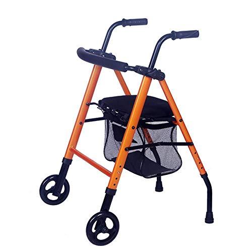 Zusammenklappbarer Rollator Walker für Mobilität Multifunktions-Einkaufswagen mit Rädern Sitzwagen mit Vier Füßen Verstellbarer Rollator (Farbe: Orange)