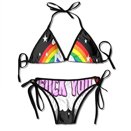 WH-CLA Badebekleidung Fick Dich Einhorn Frauen Badebekleidung Mit Brustpolster Einzigartige 2 Stück Hawaii Sexy Pool Schön Lustige Geburtstagsgeschenk Sommermode Badeanzüge Bikini Set Ve