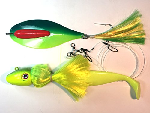 """Pearl White Rattling Mojo//Parachute Rig Loaded with 9/"""" Shad Body"""