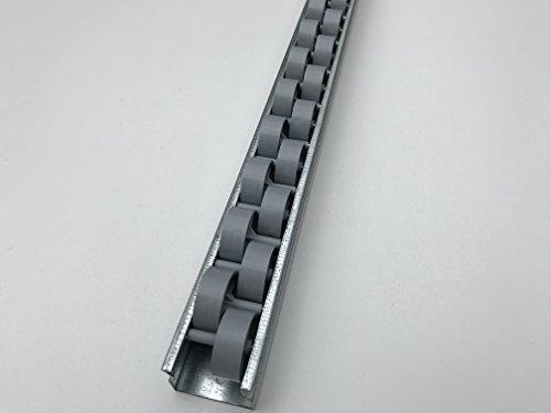 Röllchenleiste Röllchenschiene mit Versatzröllchen Grau (Länge: 0,5 m)
