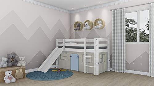 Cama Alta Para Niños Con Tobogan y Escalera De Madera de Pino Color Blanco Decapé