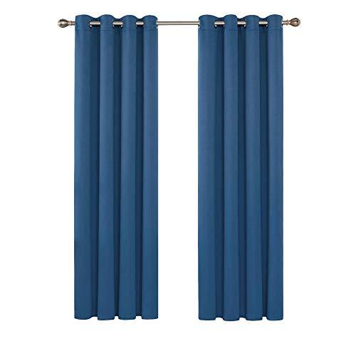Deconovo Verdunkelungsgardinen mit Ösen Vorhang Verdunkelung Gardinen Wohnzimmer 175x140 cm Blau 2er Set