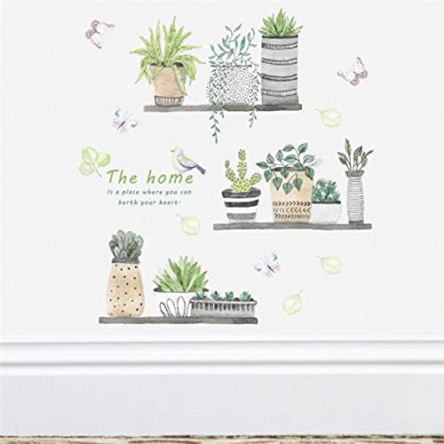 Gartenpflanze Bonsai Blume Schmetterling Wandaufkleber Wohnkultur Wohnzimmer Küche PVC Wandtattoos Diy Wandkunst Dekoration 65 * 60Cm