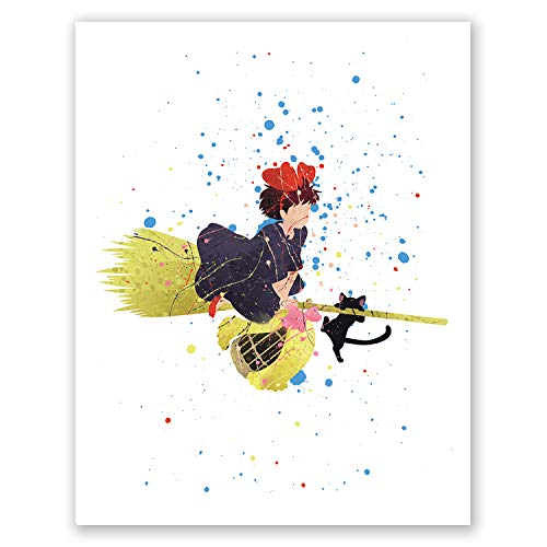 PGbureau Kikis Delivery Service Poster  Movie Anime Art Print - Studio Ghibli Hayao Miyazaki  Boys Girls Room Decor (8x10)