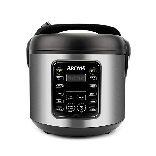 Aroma Housewares ARC5200SB 2O2O model Rice amp Grain Cooker Sauté Slow Cook Steam Stew Oatmeal Risotto Soup 20 Cup 10 Cup uncooked Stainless Steel