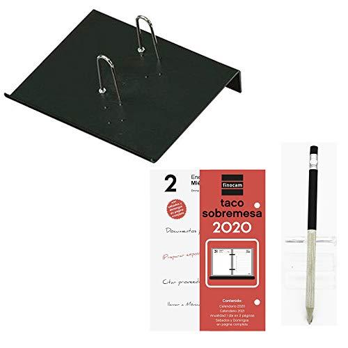 Lote de 1 Porta-calendarios (soporte) FAIBO y 1 bloc taco calendario FINOCAM sobremesa escritorio año 2020 + 1 Portaminas Inoxcrom
