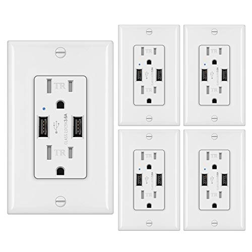 [5 Pack] BESTTEN 3.6A Dual USB Receptacle Outlet with 2 TR Outlets, 15A/125V/1875W, UL Listed
