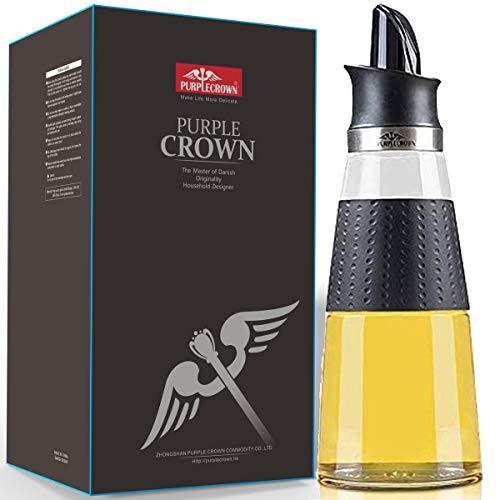 PURPLECROWN 500ml Auto Flip Olive Oil Dispenser Bottle,Seasoning Containers, Condiment Container Oil Glass Bottle For Kitchen Black