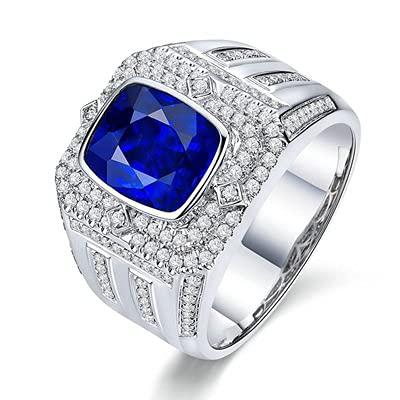 Bishilin Anillo de Oro Blanco 750 Reales, Rectángulo Zafiro 3.73ct Diamante Anillo de Compromiso de Boda Ajuste Cómodo Aniversario Cumpleaños Azul Plateadotamaño: 20