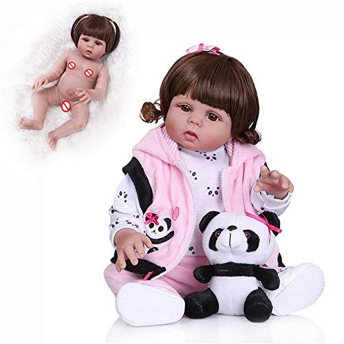 """Renacer muñecas del bebé, 18"""" / 48 cm de cuerpo entero Muchacha de silicona suave hechas a mano realistas Bebés que parecen reales Life juguetes al niño recién nacido regalo de cumpleaños,Curlyhair"""