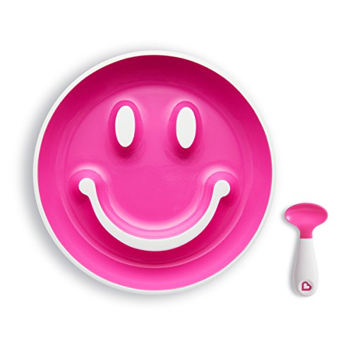 Munchkin Smile \'n Scoop Set de cuchara y plato con ventosa, rosa